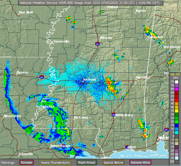 Radar Image for Severe Thunderstorms near Bay Springs, MS at 7/3/2020 4:13 PM CDT