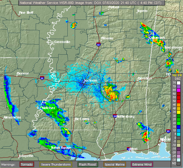 Radar Image for Severe Thunderstorms near Taylorsville, MS at 7/3/2020 4:43 PM CDT