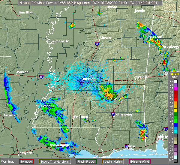 Radar Image for Severe Thunderstorms near Taylorsville, MS at 7/3/2020 4:54 PM CDT