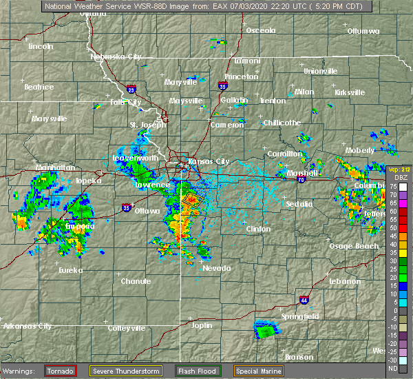 Radar Image for Severe Thunderstorms near Peculiar, MO at 7/3/2020 5:26 PM CDT