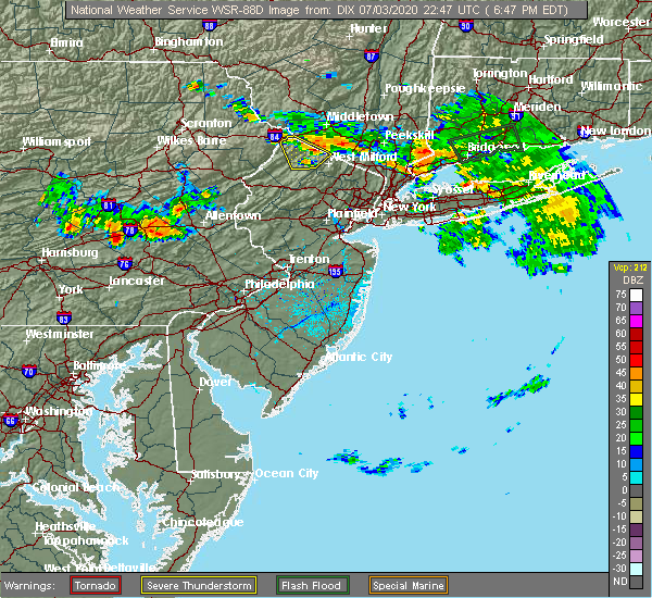 Radar Image for Severe Thunderstorms near Rehrersburg, PA at 7/3/2020 6:52 PM EDT