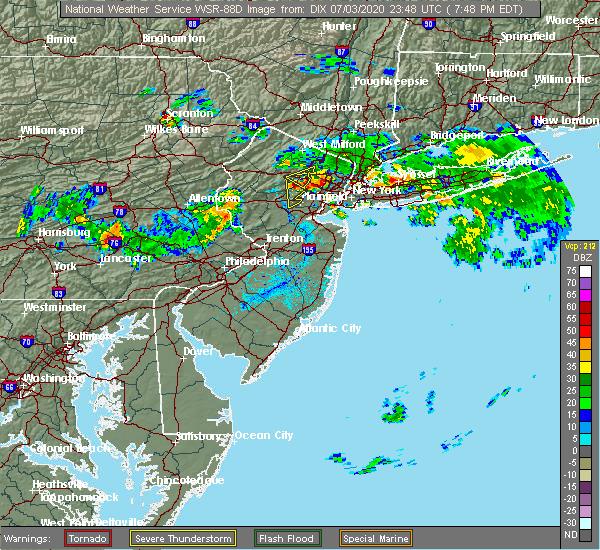 Radar Image for Severe Thunderstorms near Roselle Park, NJ at 7/3/2020 7:54 PM EDT