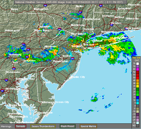 Radar Image for Severe Thunderstorms near Yardley, PA at 7/3/2020 8:16 PM EDT