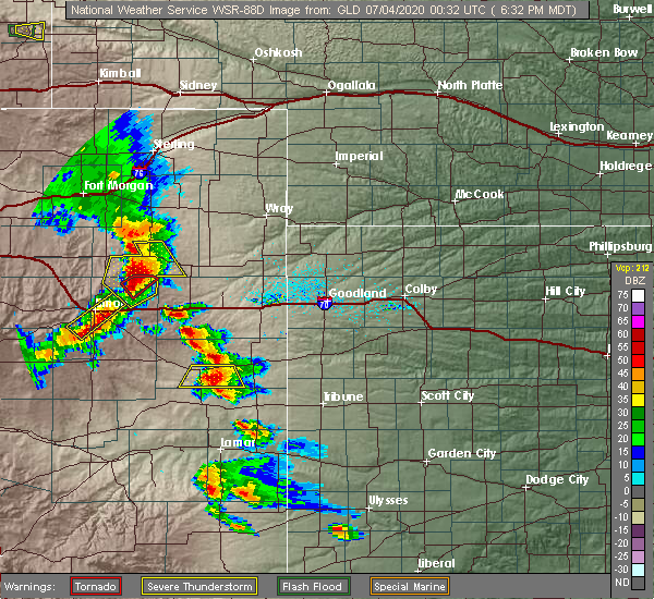 Radar Image for Severe Thunderstorms near Kit Carson, CO at 7/3/2020 6:34 PM MDT