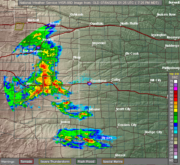 Radar Image for Severe Thunderstorms near Vona, CO at 7/3/2020 7:28 PM MDT