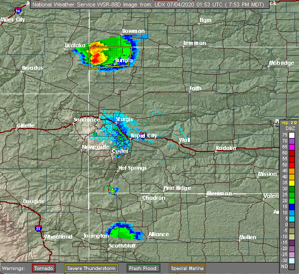 Radar Image for Severe Thunderstorms near Buffalo, SD at 7/3/2020 7:58 PM MDT