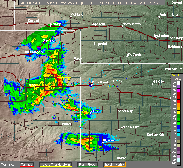 Radar Image for Severe Thunderstorms near Vona, CO at 7/3/2020 8:03 PM MDT