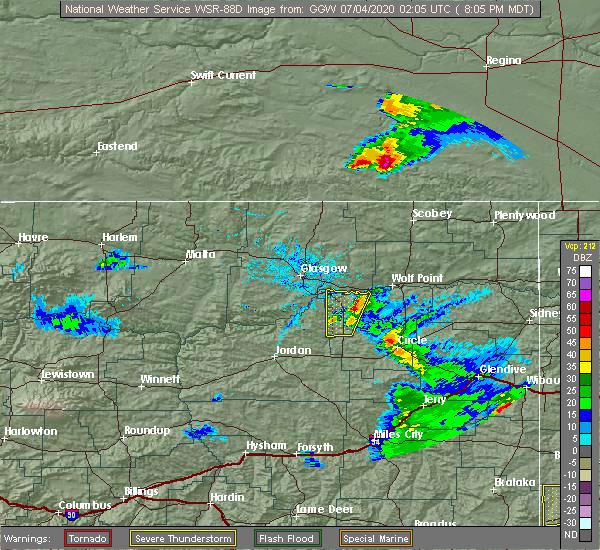 Radar Image for Severe Thunderstorms near Wibaux, MT at 7/3/2020 8:09 PM MDT
