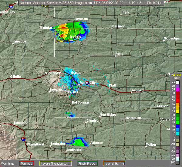 Radar Image for Severe Thunderstorms near Buffalo, SD at 7/3/2020 8:16 PM MDT