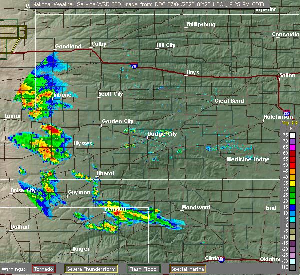 Radar Image for Severe Thunderstorms near Syracuse, KS at 7/3/2020 8:28 PM MDT