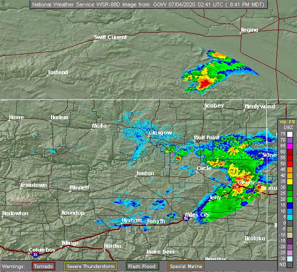 Radar Image for Severe Thunderstorms near Wibaux, MT at 7/3/2020 8:43 PM MDT