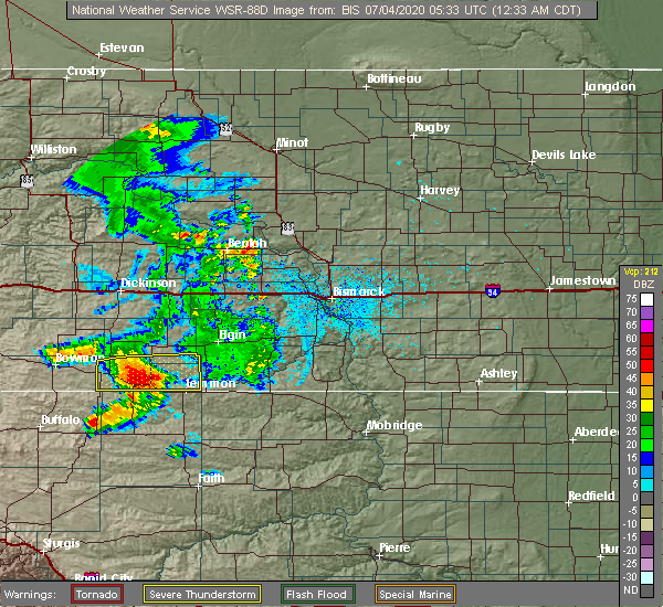 Radar Image for Severe Thunderstorms near Bucyrus, ND at 7/3/2020 11:37 PM MDT