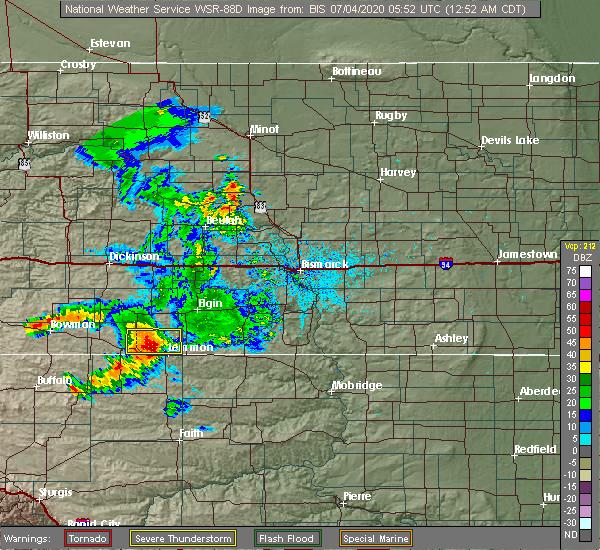 Radar Image for Severe Thunderstorms near Haynes, ND at 7/3/2020 11:54 PM MDT