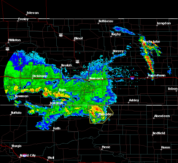 Radar Image for Severe Thunderstorms near Mound City, SD at 7/4/2020 3:33 AM MDT