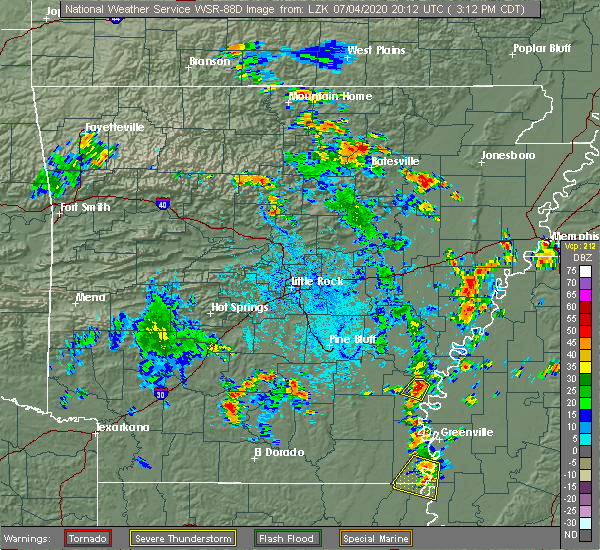 Radar Image for Severe Thunderstorms near Watson, AR at 7/4/2020 3:14 PM CDT