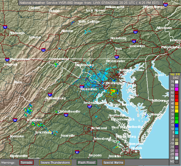 Radar Image for Severe Thunderstorms near Croom, MD at 7/4/2020 4:30 PM EDT