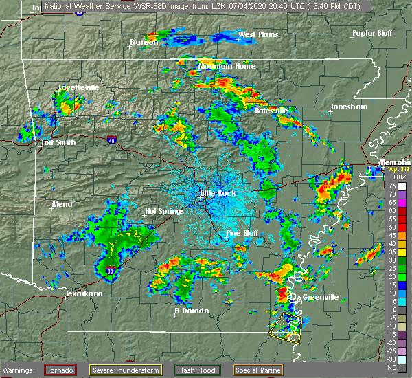 Radar Image for Severe Thunderstorms near Hector, AR at 7/4/2020 3:45 PM CDT