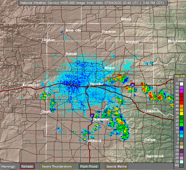 Radar Image for Severe Thunderstorms near Pampa, TX at 7/4/2020 3:52 PM CDT