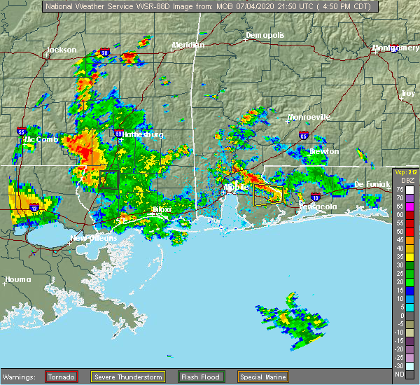 Radar Image for Severe Thunderstorms near Loxley, AL at 7/4/2020 4:54 PM CDT