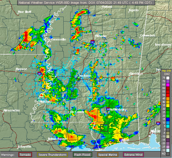 Radar Image for Severe Thunderstorms near Newton, MS at 7/4/2020 4:55 PM CDT