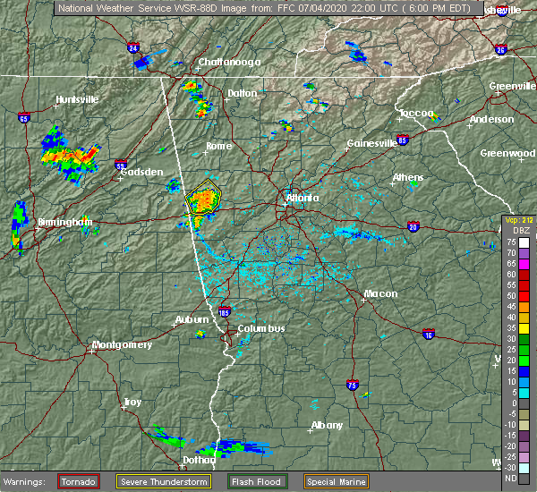 Radar Image for Severe Thunderstorms near Waco, GA at 7/4/2020 6:04 PM EDT