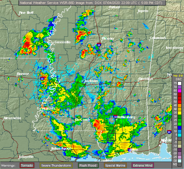 Radar Image for Severe Thunderstorms near Newton, MS at 7/4/2020 5:14 PM CDT