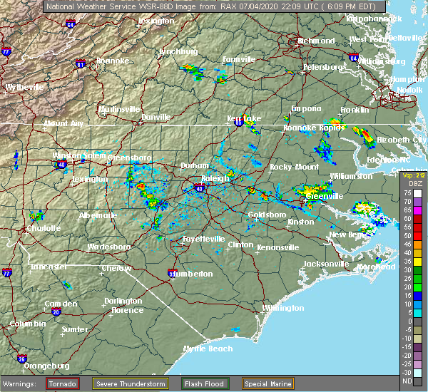 Radar Image for Severe Thunderstorms near Lucama, NC at 7/4/2020 6:17 PM EDT