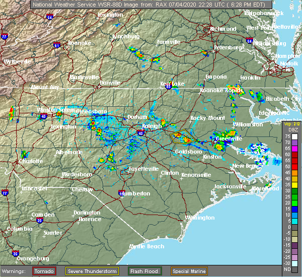 Radar Image for Severe Thunderstorms near Lucama, NC at 7/4/2020 6:35 PM EDT