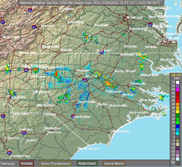 Radar Image for Severe Thunderstorms near Bailey, NC at 7/4/2020 6:59 PM EDT