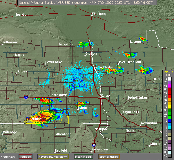 Radar Image for Severe Thunderstorms near Jamestown, ND at 7/4/2020 6:05 PM CDT