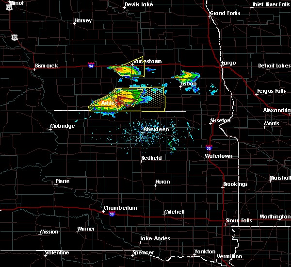 Radar Image for Severe Thunderstorms near Forbes, ND at 7/4/2020 6:08 PM CDT
