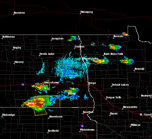 Radar Image for Severe Thunderstorms near Jamestown, ND at 7/4/2020 6:18 PM CDT