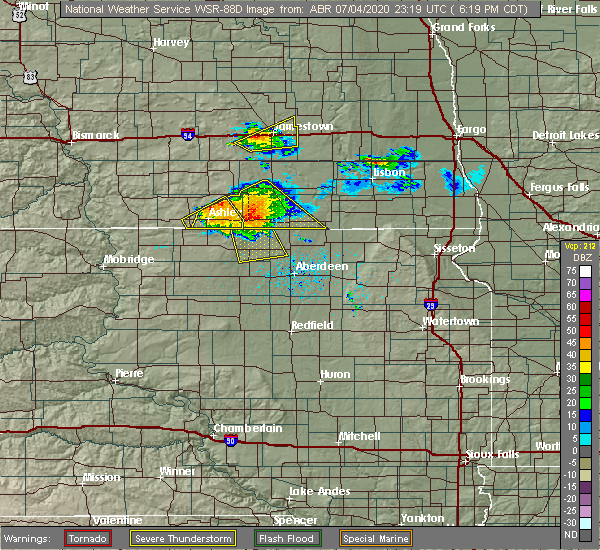 Radar Image for Severe Thunderstorms near Forbes, ND at 7/4/2020 6:22 PM CDT