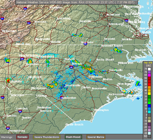 Radar Image for Severe Thunderstorms near Bailey, NC at 7/4/2020 7:42 PM EDT