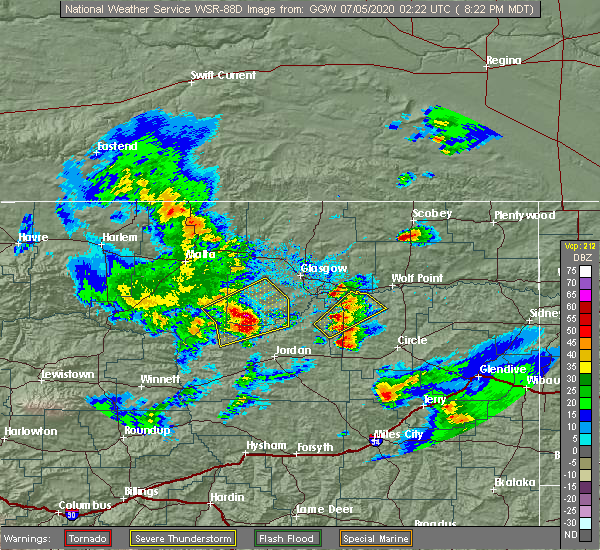 Radar Image for Severe Thunderstorms near Flaxville, MT at 7/4/2020 8:26 PM MDT