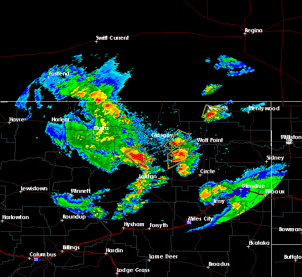Radar Image for Severe Thunderstorms near Flaxville, MT at 7/4/2020 8:48 PM MDT