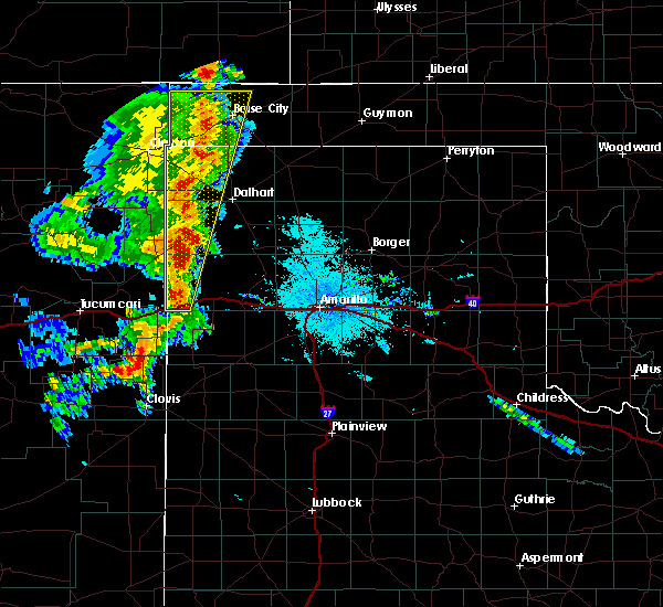 Radar Image for Severe Thunderstorms near Vega, TX at 7/4/2020 10:17 PM CDT