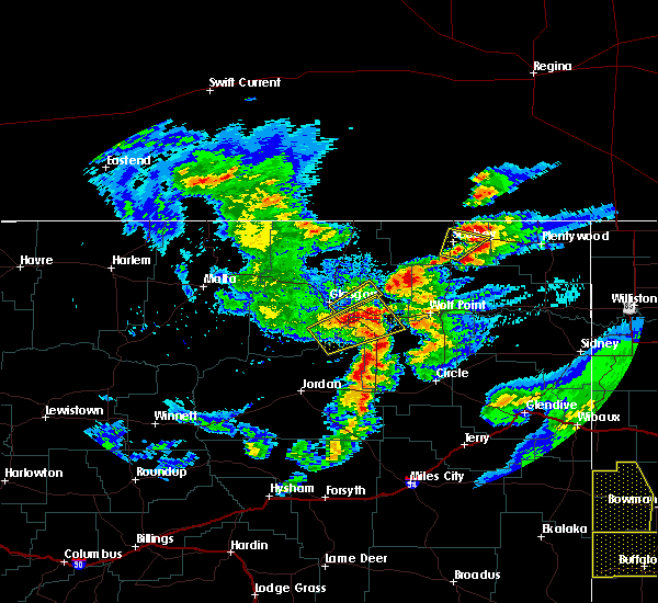 Radar Image for Severe Thunderstorms near Flaxville, MT at 7/4/2020 9:23 PM MDT