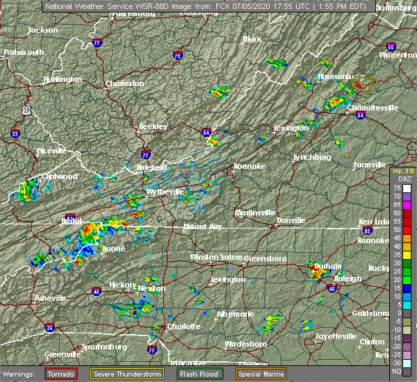 Radar Image for Severe Thunderstorms near Independence, VA at 7/5/2020 1:58 PM EDT