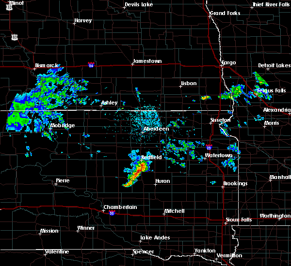 Radar Image for Severe Thunderstorms near Wessington, SD at 7/5/2020 1:08 PM CDT