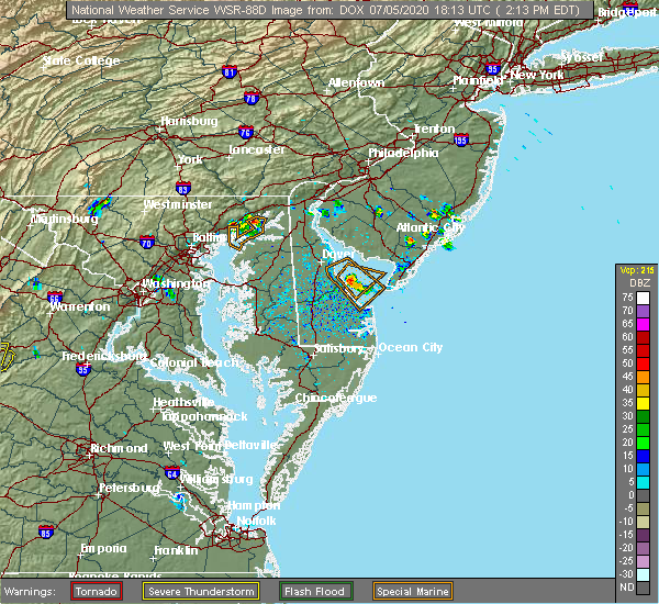 Radar Image for Severe Thunderstorms near Aberdeen, MD at 7/5/2020 2:17 PM EDT
