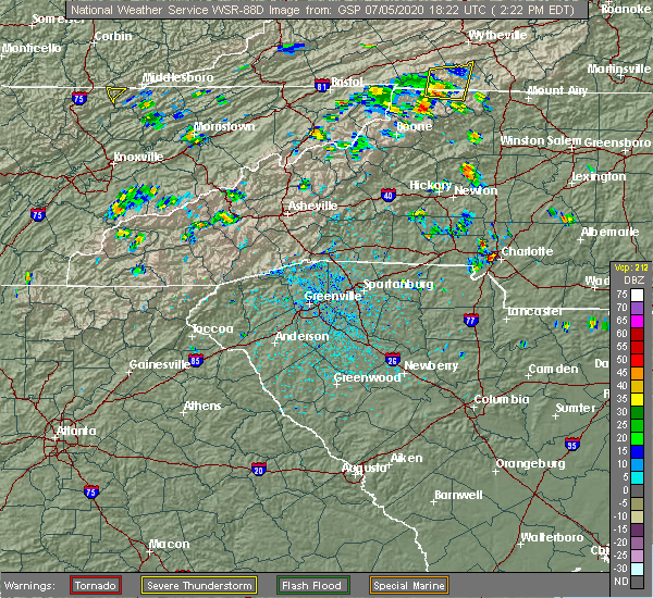 Radar Image for Severe Thunderstorms near Charlotte, NC at 7/5/2020 2:26 PM EDT