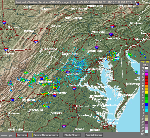 Radar Image for Severe Thunderstorms near Elkton, VA at 7/5/2020 3:01 PM EDT