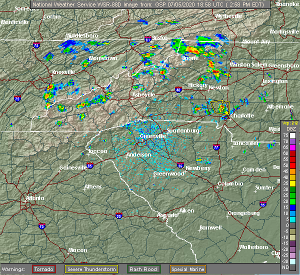 Radar Image for Severe Thunderstorms near Charlotte, NC at 7/5/2020 3:02 PM EDT