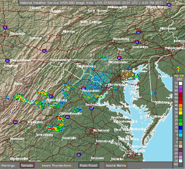Radar Image for Severe Thunderstorms near Pantops, VA at 7/5/2020 4:07 PM EDT