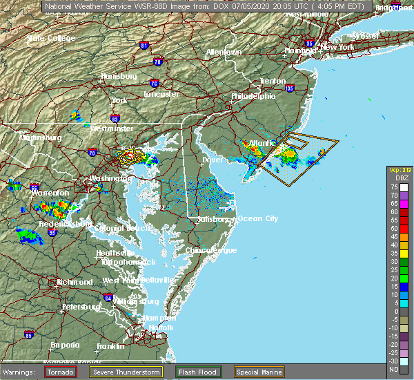 Radar Image for Severe Thunderstorms near Bowleys Quarters, MD at 7/5/2020 4:11 PM EDT