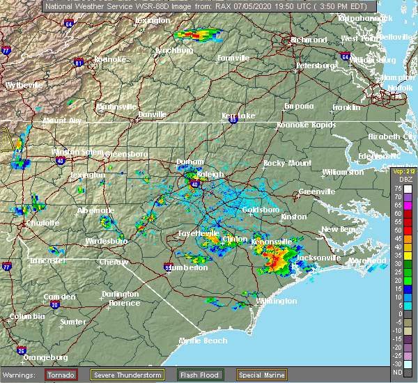 Radar Image for Severe Thunderstorms near Garner, NC at 7/5/2020 4:12 PM EDT