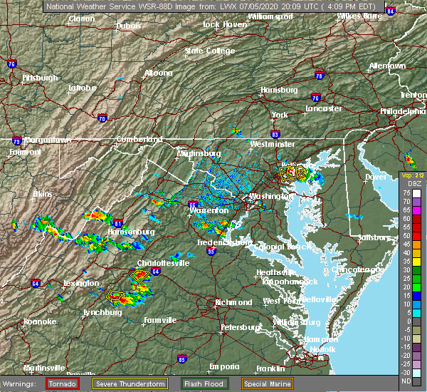 Radar Image for Severe Thunderstorms near Quantico Base, VA at 7/5/2020 4:15 PM EDT