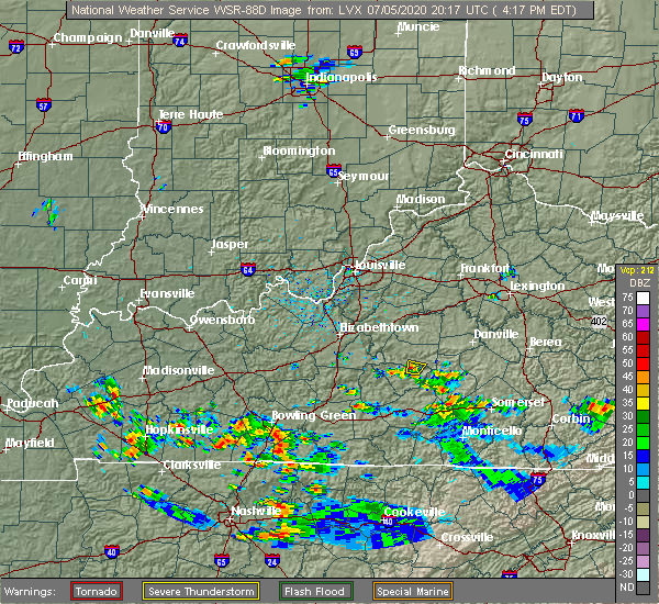 Radar Image for Severe Thunderstorms near Liberty, KY at 7/5/2020 4:21 PM EDT
