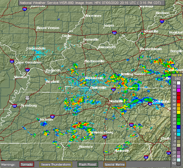 Radar Image for Severe Thunderstorms near Fairview, KY at 7/5/2020 3:24 PM CDT